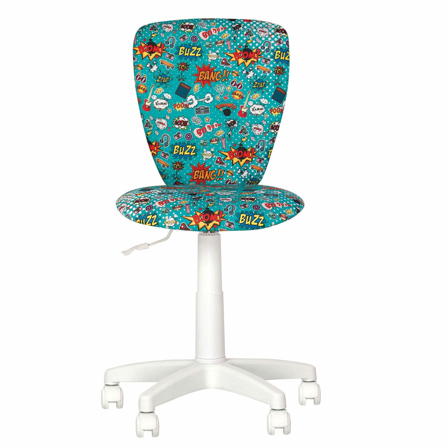 "Children's armchair ""POLLY GTS white"" without armrests, turquoise with a pattern"