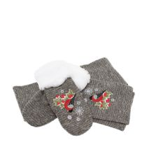 Set scarf and mittens 'Bullfinch with viburnum'