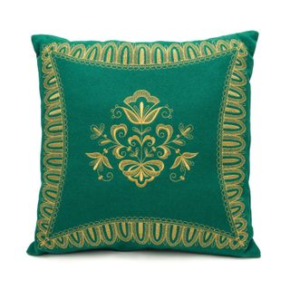 "Cushion divan ""Dreams"", green with gold embroidery"
