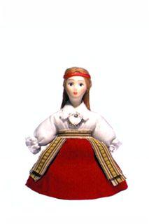 Doll gift. Estonian women's costume ser. 19th century. Region: Halleste.