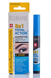 Corrector gradually dyeing eyebrows 8in1 total action series henna eyebrow therapy professional, Eveline, 10 ml