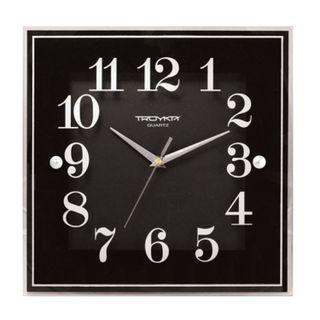 Wall clock TROYKA 81000012, square, black, white frame, 32х32х3,5 cm