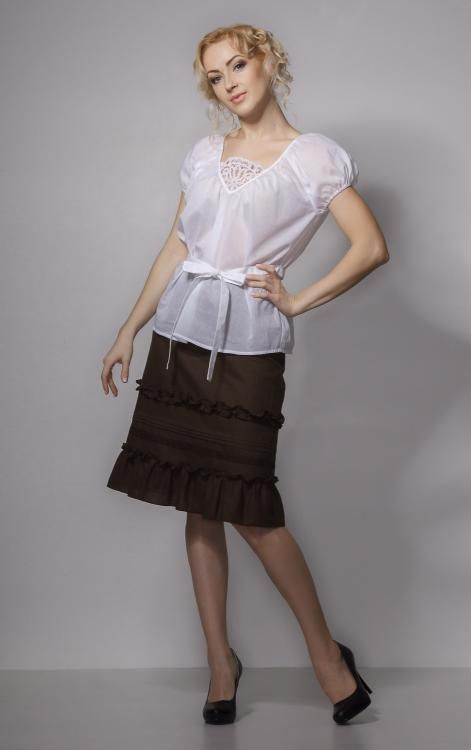 Skirt women's Giselle with lace and embroidery