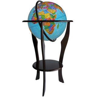 Political globe with a diameter of 420 mm on a floor wooden stand