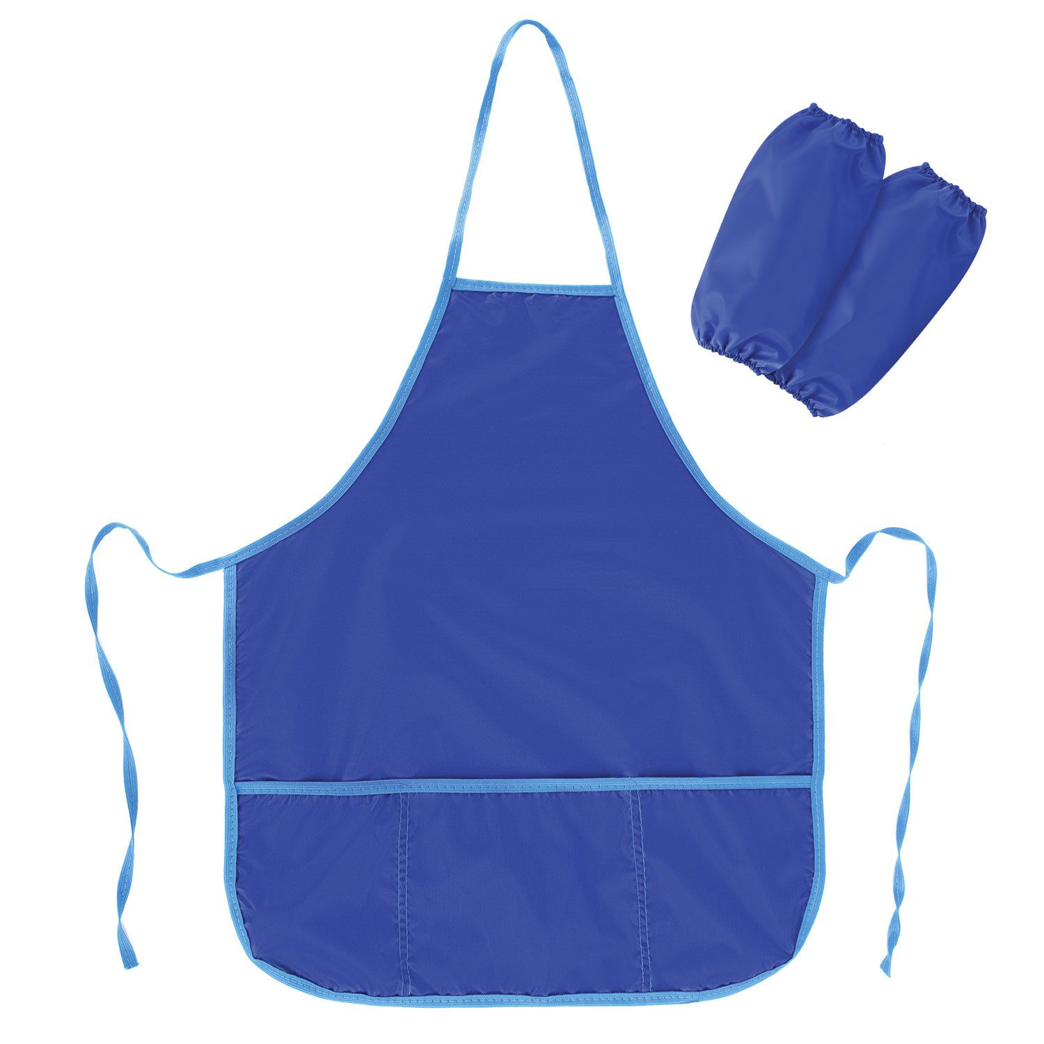 Apron with oversleeves for work and creativity PYTHAGORAS, 44х55 cm, blue