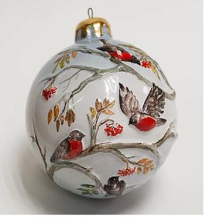 Christmas ball with bullfinches
