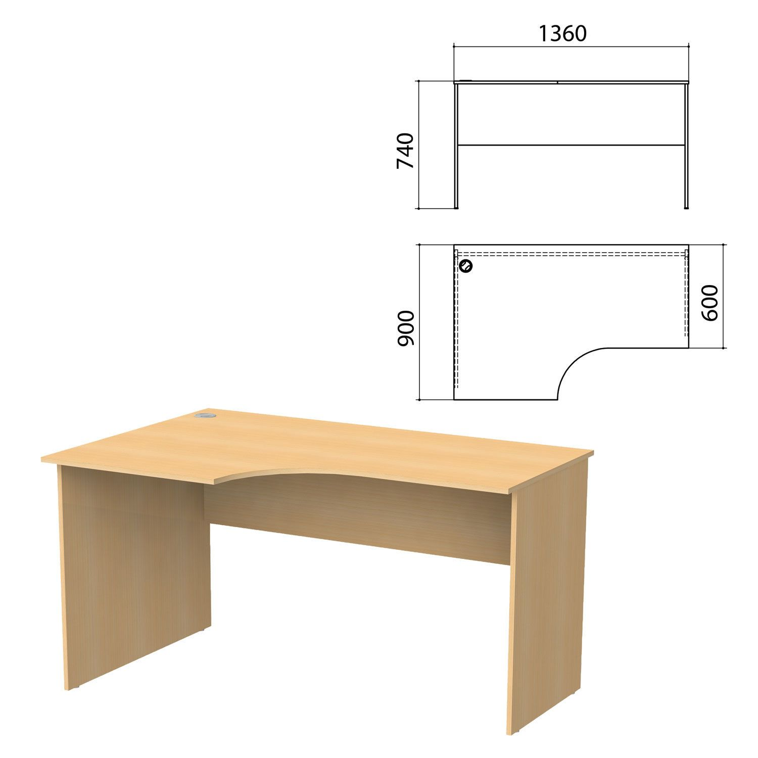"Desk written ergonomic ""Budget"" 1360 x900s740 mm, left, beech natural"