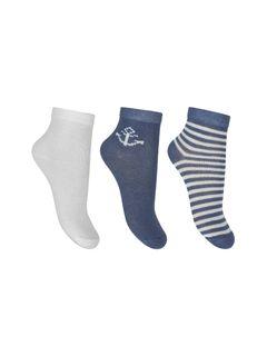 A set of socks: white, jeans, striped