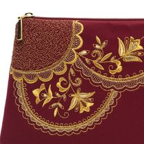 Cosmetic bag 'Lace' Burgundy with gold embroidery