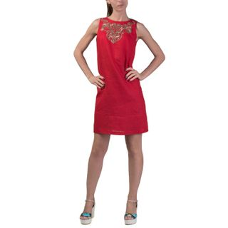 Dress women's city red with gold embroidery
