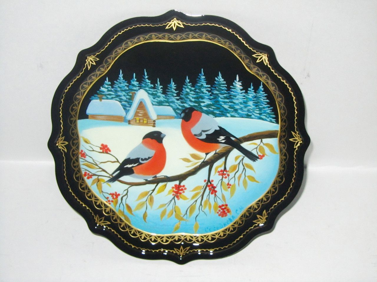 """Souvenirs from N. Tagil / Tray """"Subject painting. Bullfinches on a branch"""", 19 cm"""
