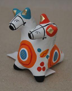 Dymkovo clay tin whistle, the Two horses