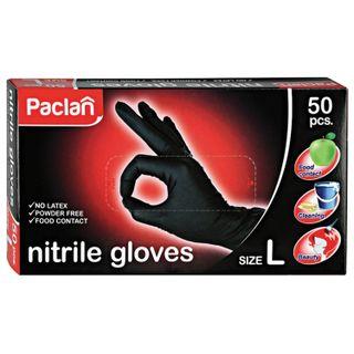 PACLAN / Nitrile gloves BLACK powder-free, size L (large), SET 25 pairs (50 pcs.),