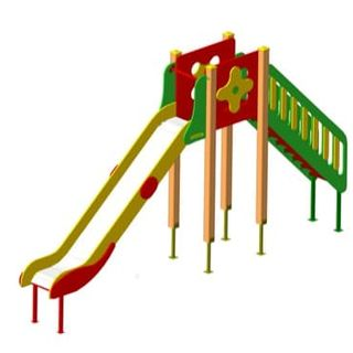 G-18 children's wooden slide for outdoor area