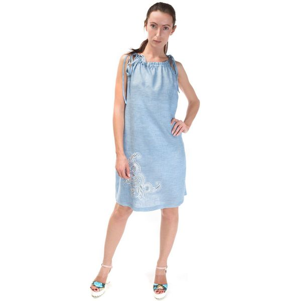 Sundress women 'deion' blue with silver embroidery