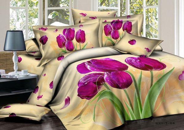 Satin bed linen 3D Bouquet of tulips