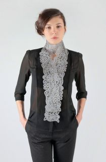 "Lace scarf ""Sky over Paris"" gray with blue, Madame Cruje"