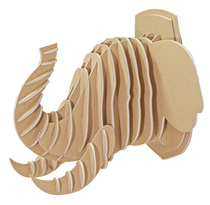 3D figure - Head of the African elephant KVK Brown