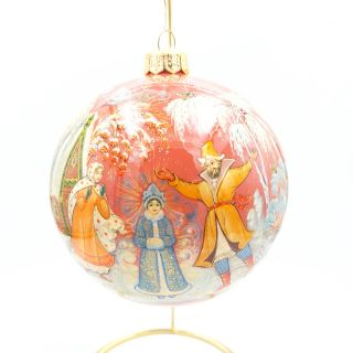 "Palekh / Christmas tree ball ""Snow Maiden"" glass, master Chaparina"