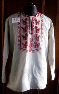 "Men's linen shirt ""Horses"" Karelian patterns"