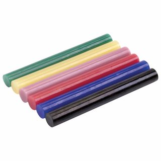 Adhesive rods, diameter 11 mm, length 100 mm, colored (assorted), set 6 pieces, BRAUBERG, blister