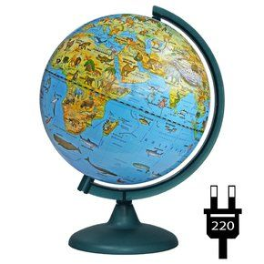 Zoogeographical globe 250mm with backlight on a plastic stand, working from the outlet