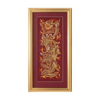 "Panel ""the bird Phoenix"" red color with Golden embroidery"