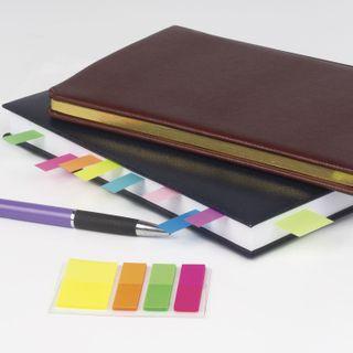 Bookmark adhesive BRAUBERG NEON, plastic, 3 colors x 45х12 mm + 1 color x 45х26 mm, 25 sheets