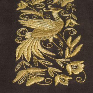 "Panels hand embroidery ""Fabulous bird"" brown with gold embroidery"