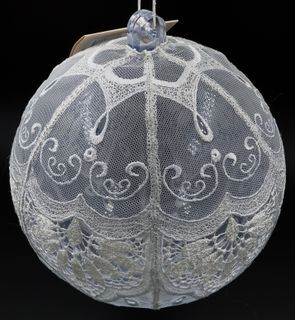The new year's ball the lace on net with hand embroidery, d=15 cm
