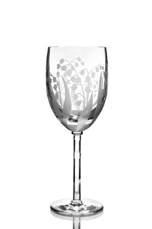 "Set of crystal glasses ""Vasil"" drawing ""Lilies of the valley"" 6 pieces"