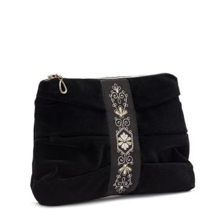 Velvet cosmetic bag black silver black with silver embroidery
