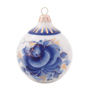 Christmas toy Ball gold, Gzhel Porcelain factory