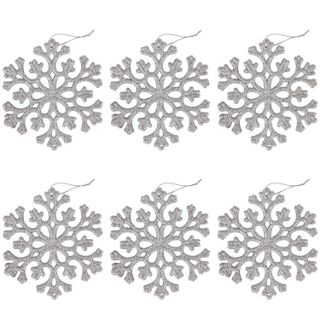 "GOLDEN FAIRY TALE / Christmas tree pendant decoration ""Silver snowflake"", SET 6 pcs., 12 cm, glitter"