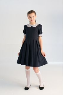 School dress made of polyviscose blue