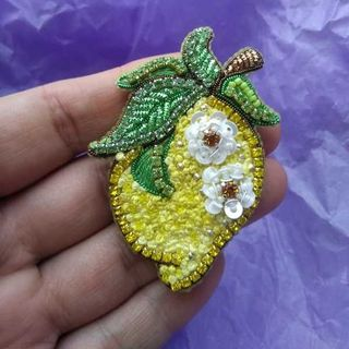 Brooch Lemon. Handmade