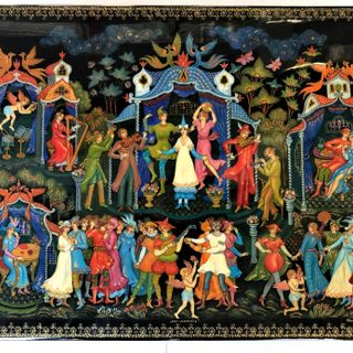 "The casket Palekh ""the masquerade Ball"", master Sirakov"