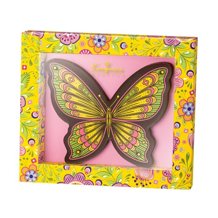 """Chocolate greeting card """"Butterfly!"""" spring"""