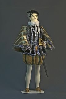 Doll gift. Men's Royal costume. 1565g. France. The historical attire of Charles IX
