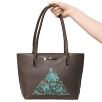 Bag in eco-leather Madeline brown color with silver embroidery