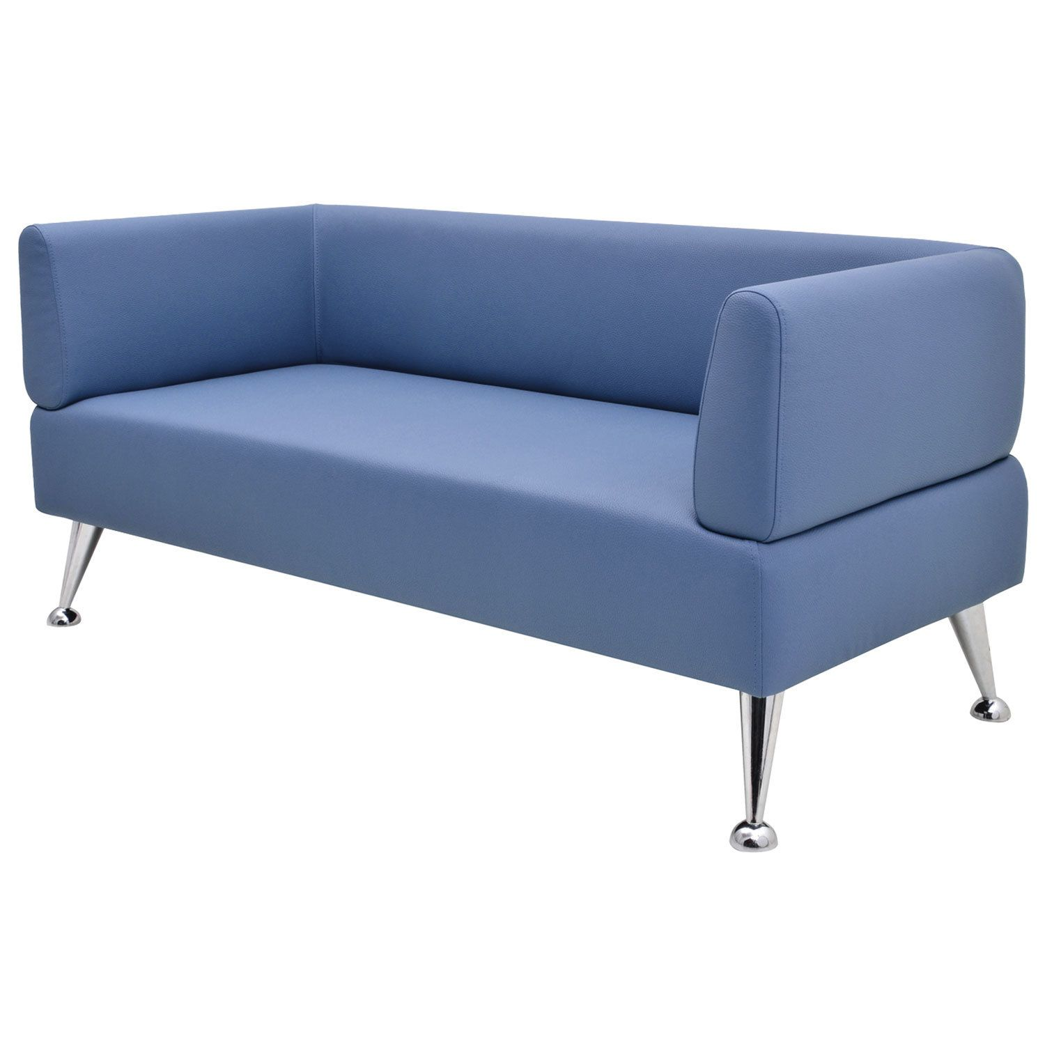 """GARTLEX / Sofa soft three-seater """"Nord"""", """"V-700"""", 1560x720x730 mm, with armrests, eco-leather, blue"""