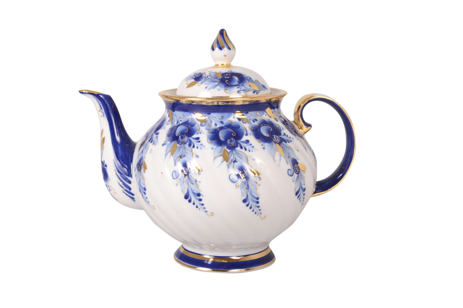 Dulevo porcelain / Teapot 1200 ml Blue Rose Gold