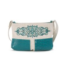 Linen bag 'tango' green with silk embroidery