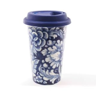 Author's coffee Cup with silicone lid No. 14, Gzhel Porcelain factory