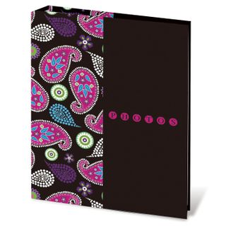 BRAUBERG photo album for 200 photos 10x15 cm, hard cover, Paisley, black with pink