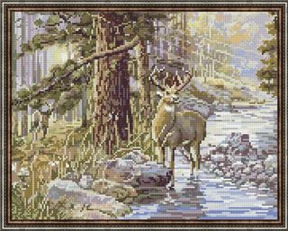 Diamond mosaic is the king of the forest 40x50 cm