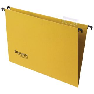 Hanging folder A4/Foolscap (406х245 mm), up to 80 sheets, SET of 10 PCs, yellow, cardboard, BRAUBERG (Italy)