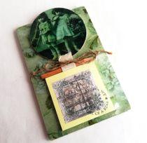 Handmade vintage girls writing block with fridge magnet
