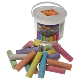 Chalk, colored JOVI (Spain), set of 20 PCs., for drawing on the pavement, round, plastic bucket