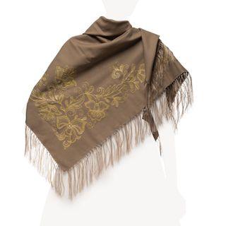 "Woolen shawl ""Tango"" brown"